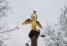 Monument angel with pigeons at the krasnodar city Stock Photography