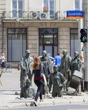 The Monument of An Anonymous Passerby, Transition, sculptures of people, Wroclaw, Poland. WROCLAW - POLAND, JUNE 13, 2017 : The Monument of An Anonymous Passerby Stock Image