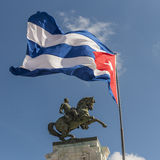 Monument of Antonio Maceo Havana and Cuba flag. Monument of Antonio Maceo and the Cuba flag. Havana, Cuba Royalty Free Stock Photo