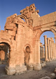Monument Arch, Palmyra, Syria. The Monument Arch forms the eastern gateway to the World Heritage site of Palmyra in central Syria. The arch was built in the royalty free stock images