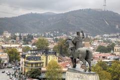 Monument au fondateur du tsar Vakhtang Gorgasali de ville images libres de droits