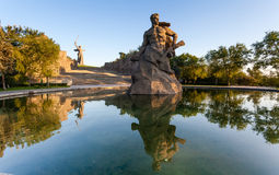 Monument-Aufenthalt zum Tod in Mamaev Kurgan, Wolgograd, Russland Stockfotografie