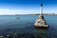 Monument aux bateaux courus précipitamment à Sébastopol Photographie stock