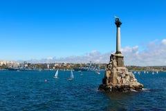 Monument aux bateaux courus précipitamment à Sébastopol Photo stock
