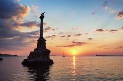 Monument aux bateaux inondés dans la baie de Sébastopol photo libre de droits