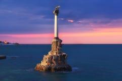 Monument aux vaisseaux de guerre courus précipitamment à Sébastopol Photos stock
