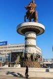 Monument av Alexander The Great i Skopjes Fotografering för Bildbyråer