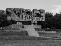 Monument av ansträngning och martyrskap i Majdanek Arkivfoto