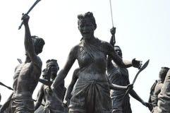 Monument av den infödda krighändelsen i Thailand historia Arkivbild