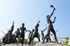 Monument av den infödda krighändelsen i Thailand historia Royaltyfri Bild