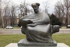 Monument av den kroatiska poeten Marko Marulic i Zageb, Kroatien Arkivfoto