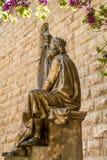 Monument av konungen David med harpan i Jerusalem Royaltyfri Bild
