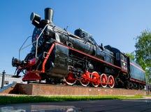 Monument av lokomotivet av typ 0-5-0 av hm serien på stationen Voronezh-1 Royaltyfria Bilder