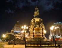 Monument av Piter First, Medniy skicklig ryttare, i St Petersburg, n Royaltyfri Foto