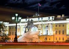 Monument av Piter First, Medniy skicklig ryttare, i St Petersburg, n Royaltyfri Fotografi