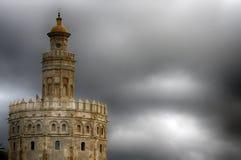 Monument av Seville, Torre del Oro, Andalusia Arkivfoto
