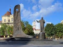 Monument av Taras Shevchenko i Lviv, Ukraina Arkivbild