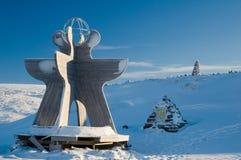 Monument bij de polaire cirkel Stock Foto