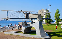 Monument of biplane in Belem, Lisbon, Portugal Stock Photo