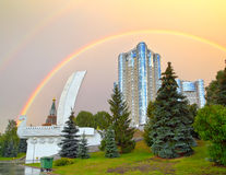 Monument Boat on waterfront of Samara city against rainbow. Monument Boat or Shallop on the waterfront of Samara city in Russia against rainbow Royalty Free Stock Images