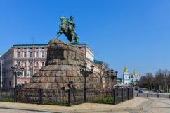 The monument of Bogdan Khmelnitskiy. Bogdan Khmelnitskiy. Famous monument in the Kiev. Ukraine Stock Photography