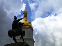 The Cossack leader, Bohdan Khmelnytsky monument in Kyiv, Ukraine, against a picturesque cloudy sky stock photography
