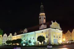 Monument in Boleslawiec bij nacht Royalty-vrije Stock Foto's