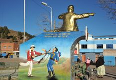 Monument Bolivian naval don Eduardo Avaroa in San Pablo. SAN PABLO, BOLIVIA - SEPTEMBER 3, 2010:  Town of San Pablo  on lake Titicaca, where is the ferry to San Stock Photography