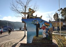Monument Bolivian naval don Eduardo Avaroa in San Pablo. SAN PABLO, BOLIVIA - SEPTEMBER 3, 2010: Town of San Pablo on lake Titicaca, where is the ferry to San Royalty Free Stock Photography