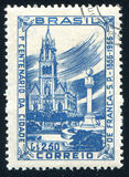 Monument. BRAZIL - CIRCA 1956: stamp printed by Brazil, shows  Church and Monument, Franca, circa 1956 Royalty Free Stock Images