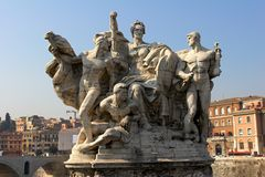 Monument on bridge Vittorio Em Royalty Free Stock Photo