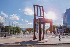 Monument Broken Chair on the square , Geneva, Switzerland. Royalty Free Stock Images