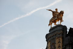 Monument in Brussels, Belgium. Gold monument at Brussels, Belgium Royalty Free Stock Image