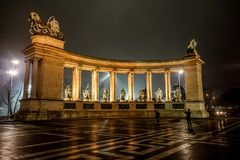Monument in Budapest, Hungary. A night scene of a monument in Budapest, Hungary royalty free stock photos