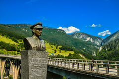 Monument for builder of Durdevica Tara arc bridge. Bozhidar Zhugik, Montenegro. One of the highest automobile bridges in Europe Royalty Free Stock Photography