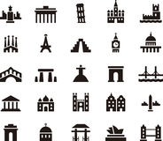 Monument and building icon set Royalty Free Stock Photos