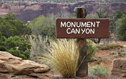 Monument Canyon Sign Stock Photos