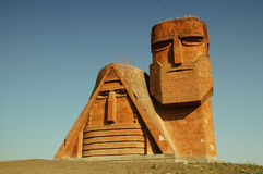 Monument in the capital of Nagorno-Karabakh, Stepa. The monument called We are our mountains  in the capital of Nagorno-Karabakh, Stepanakert Royalty Free Stock Photos