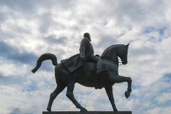 Monument of Carol the First at Revolution Square in Bucharest, Romania. Statue of Carol I, first king of Romania, on horse-back at Revolution Square in Bucharest stock image