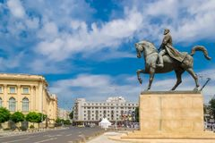Monument of Carol the First at Revolution Square in Bucharest, Romania. Statue of Carol I, first king of Romania, on horse-back at Revolution Square in Bucharest royalty free stock photo
