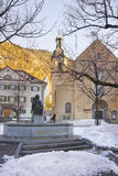 Monument and Cathedral of the Assumption in Chur at sunrise Royalty Free Stock Photography