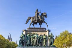 Monument in center of Cologne of Kaiser Freidrich Wilhelm at Heu Royalty Free Stock Photos