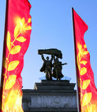 Monument on the central gate to the All-Russian Exhibition cente Royalty Free Stock Photo