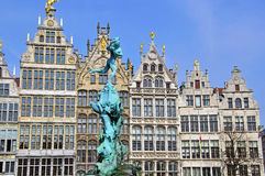 Monument on central square of Antwerpen Royalty Free Stock Photography