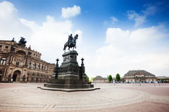 Monument on central Theaterplatz square in Dresden Royalty Free Stock Image