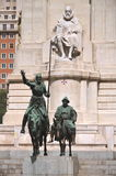 The monument of Cervantes in Madrid, Spain Stock Images