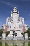 The monument of Cervantes in Madrid, Spain Royalty Free Stock Images