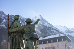Monument in Chamonix in French Alps Stock Photos