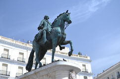 The monument of Charles III in Madrid, Spain Royalty Free Stock Images