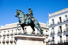 The monument of Charles III on Puerta del Sol in Madrid, Spain stock photo